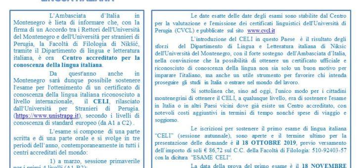 Certificato CELI si puo' ottenere anche a Niksic