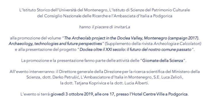 "Promozione del volume ""The Archeolab project in the Doclea Valley"""